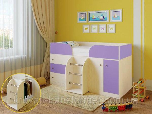 """Детская кровать чердак """"Карлсон"""" Молочный дуб+Лаванда"""