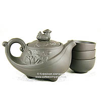 Чайник китайский заварочный исинская глина 160мл+3 пиалы 9287