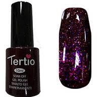 Гель лак Tertio 093 (10 мл) темно-фиолетовый с розовыми микроблестками, плотный.