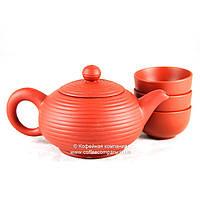 Чайник китайский заварочный исинская глина 150мл+3 пиалы 9289