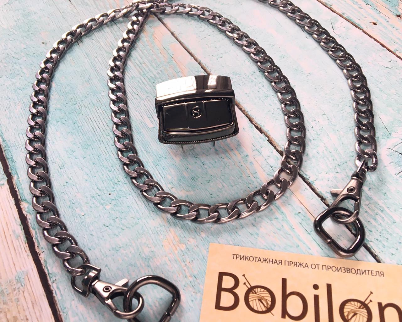 Набор фурнитуры для сумки в цвете черное серебро