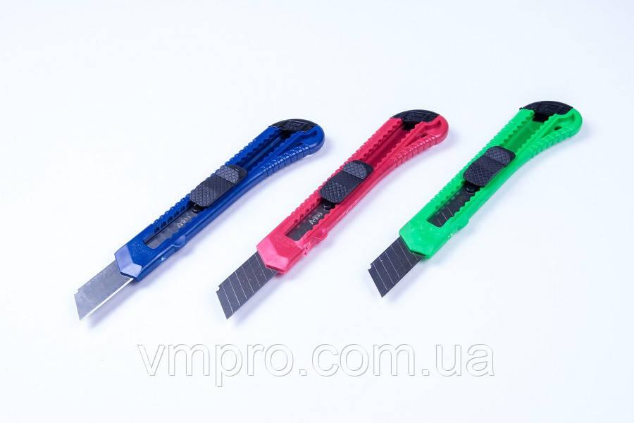 Ніж канцелярський (великий-18 мм) упаковка мікс кольорів/ 10 шт, №2030, ножі канцелярські