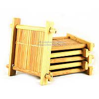Подставка под пиалу деревянная 6х6см 6шт 9291
