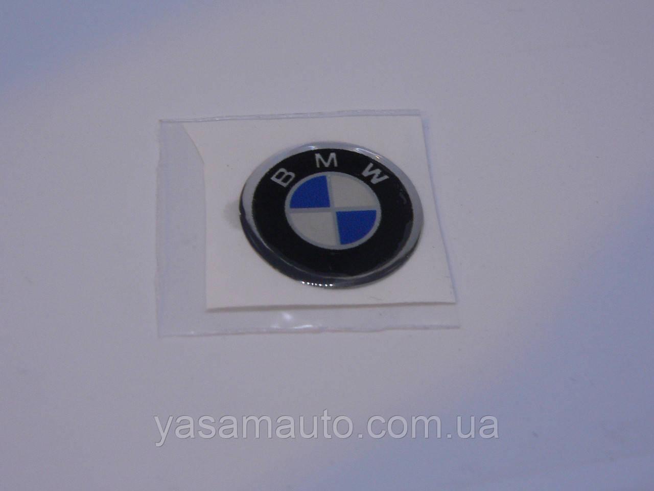 Наклейка s круглая BMW 20х20х1.2мм стандарт силиконовая эмблема логотип марка бренд в круге на авто 3М БМВ