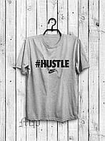 Стильная мужская футболка #Hustle серая