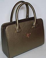 Женская каркасная сумка ПРАДА цвета бронзы