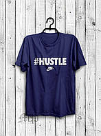 Стильная мужская футболка #Hustle темно-синяя
