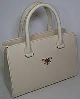 Женская каркасная сумка ПРАДА молочного цвета