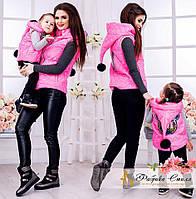 Стильный комплект из двух жилеток для модных мам и их малышей.Теплая жилетка с конусообразный капюшоном.