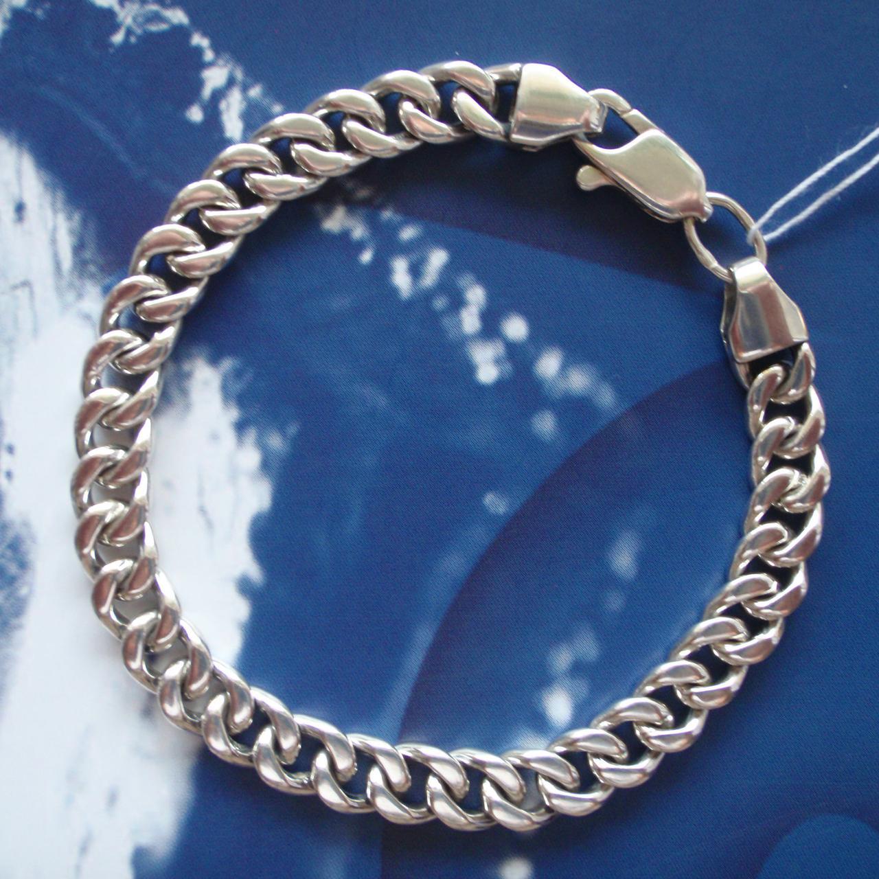 Серебряный мужской браслет, 210мм, 32 грамма, плетение Панцирь