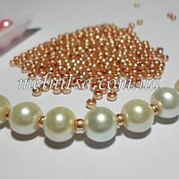 Бусины металлизированные, 3 мм,  Preciosa, золото