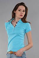 Стильная женская футболка поло с коротким рукавом с воротником (реплика) Burberry голубого цвета