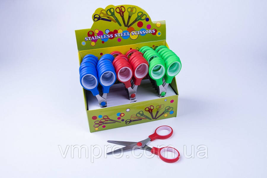 Ножницы школьные (закругленные концы) упаковка 24 шт, №KS-304-A, канцелярские ножницы