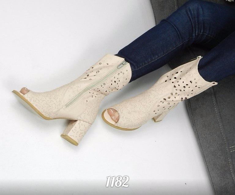 Женские летние сапожки с перфорацией цвета пудры,натуральная кожа.Размер 36! 9babec172ee
