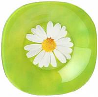 Тарелка глубокая Luminarc Paquerette Green квадратная 22х22 см стеклокерамика (0089G)