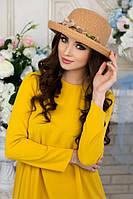Соломенная шляпа-котелок с цветами в 3х цветах 1702