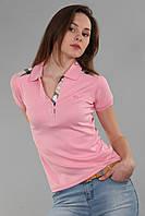 Модная женская футболка поло с воротником (реплика) Burberry розового цвета