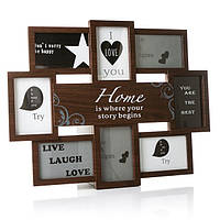 Рамка фото коллаж с надписью на 8 фотографий, коричневая