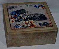 """Деревянная шкатулка для чая """"Рим"""". Подарки в стиле Прованс"""