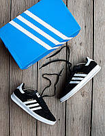 Мужские кроссовки Adidas Gazelle 🔥 (Адидас Газели) Black-Whitre