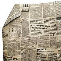 Бумага флористическая Газета  на крафте двухсторонняя