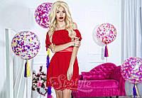 Нарядное короткое женское платье материал шифон с перфорацией, с атласным поясом. Цвет красный