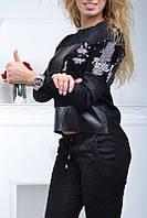 Спортивный костюм женский чёрный с паетками Турция S M L XL  ас8813, фото 1