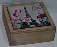 """Деревянная шкатулка для чая """"Париж"""". Подарки в стиле Прованс"""