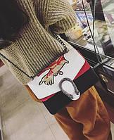 Новинка! Модная женская сумка Gucci Dionysus черного с белым цвета с вышивкой