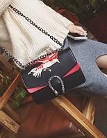 Новинка! Модная женская сумка Gucci Dionysus черного цвета с вышивкой