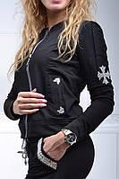 Спортивный костюм женский Турция с камнями сваровски с XS по 54 размер чёрный  ас8816, фото 1