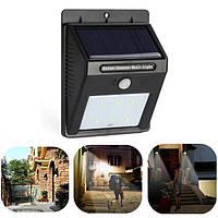 Светодиодный настенный светильник, фонарь, бра с датчиком движения на солнечной батареи 6 LED