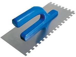 Гладилка нержавеющая с пластиковой ручкой, 125х270мм зуб 6х6мм