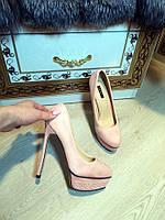 Туфли цвет пудра на платформе