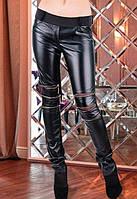 Кожаные леггинсы украшенные молниями на коленях r-t6112277