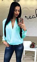 Яркая женская блузка. Цвета: электрик, белый (молоко), бордо, мята, персик, темно-син