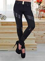 Женские лосины из дайвинга с кожаными вставками o-t6112282