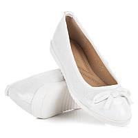 Женские балетки белые с бантом