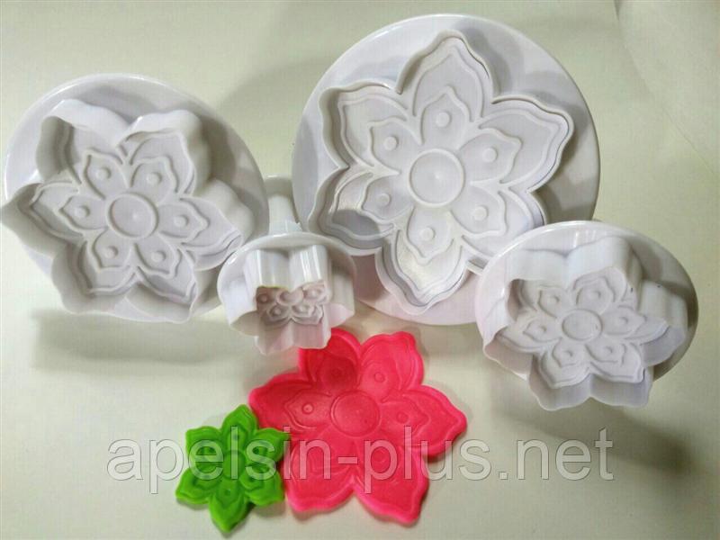 Плунжер для мастики Цветы ажурные набор 4 штук