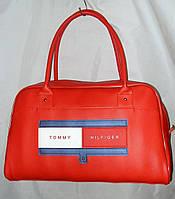 Женская сумка спортивная 012941 саквояж красная гладкая эко-кожа
