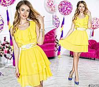 Нарядное короткое женское платье материал шифон, с атласным поясом. Цвет желтый