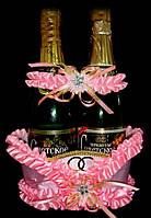Корзиночка для  шампанского, фольг.розовая