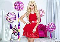 Нарядное короткое женское платье материал шифон, с атласным поясом. Цвет красный