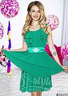 Нарядное короткое женское платье материал шифон, с атласным поясом. Цвет зеленый