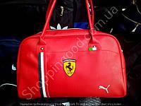 Сумка Puma Ferrari 114703 большая саквояж красная унисекс спортивная кожзам размер 48см х 30см х 17см