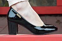 Туфли женские лаковые черные на удобном каблуке. Топ