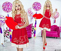 Нарядное короткое женское шифоновое платье, атласный пояс украшен камнями. Цвет красный с белым