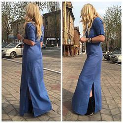 Платье рубашка из льна цвета джинс