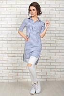 Летняя Рубашка-туника синяя полоска