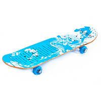Скейт деревянный c прозрачными колесами MORE-508 (рас.2)